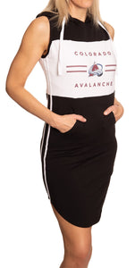 Ladies NHL Side Stripe Casual Pullover Sleeveless Hoodie Dress- Colorado Avalanche Full Length Side View With Hands in Front Pocket and Side Stripe Showing