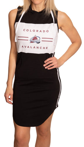 Ladies NHL Side Stripe Casual Pullover Sleeveless Hoodie Dress- Colorado Avalanche Full Length Front Photo