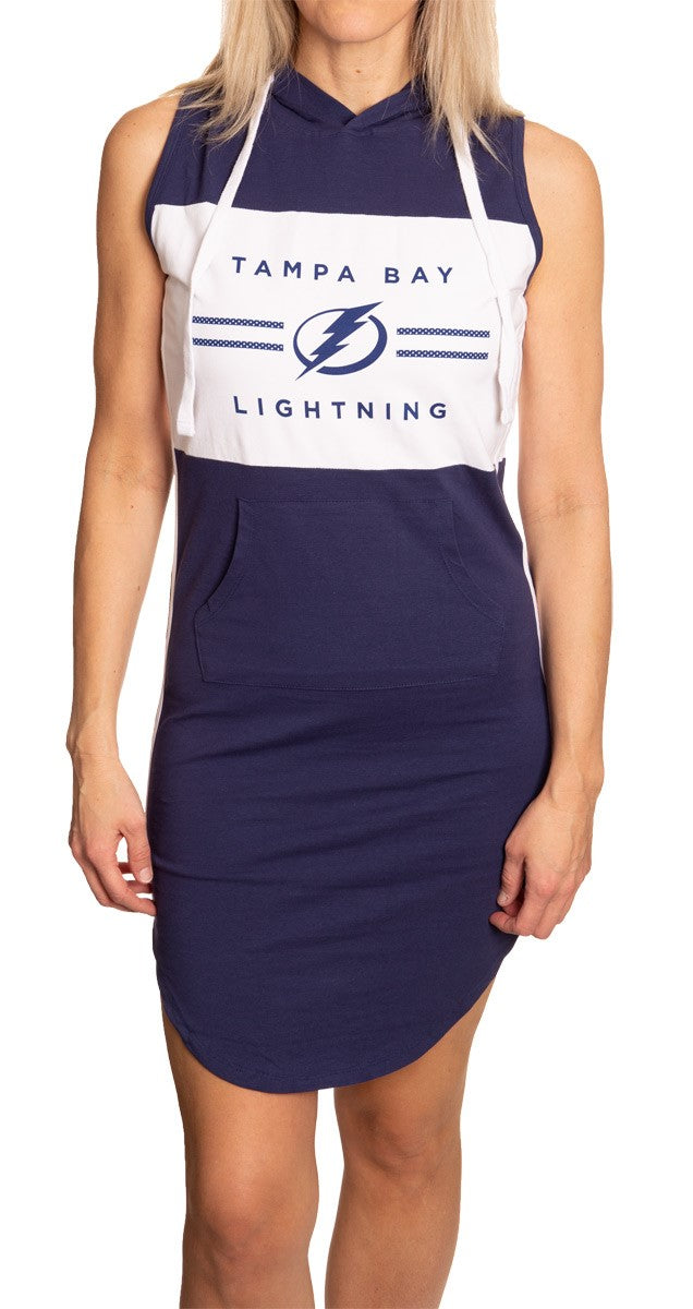 Ladies NHL Side Stripe Casual Pullover Sleeveless Hoodie Dress- Tampa Bay Lightning Full Length Front View With Logo