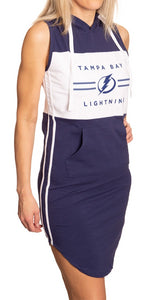 Ladies NHL Side Stripe Casual Pullover Sleeveless Hoodie Dress- Tampa Bay Lightning Full Length Side View With Stripe and Pocket