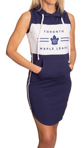 Ladies NHL Side Stripe Casual Pullover Sleeveless Hoodie Dress- Toronto Maple Leafs Full Length View WIth Woman Hands in Pocket