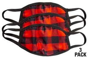 Buffalo Plaid 3 Ply Face Mask - 3 Pack Shown.
