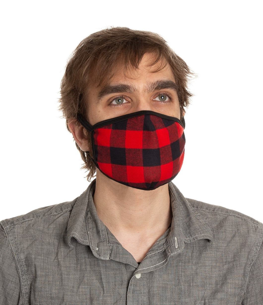 Buffalo Plaid 3 Ply Face Mask Modeled.