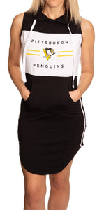 Ladies NHL Side Stripe Casual Pullover Sleeveless Hoodie Dress- Pittsburgh Penguins