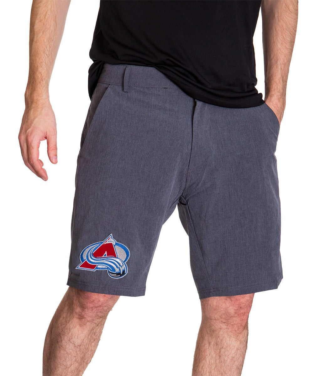 NHL Mens 4-Way Stretch Performance Shorts- Colorado Avalanche Front