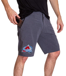 NHL Mens 4-Way Stretch Performance Shorts- Colorado Avalanche Side