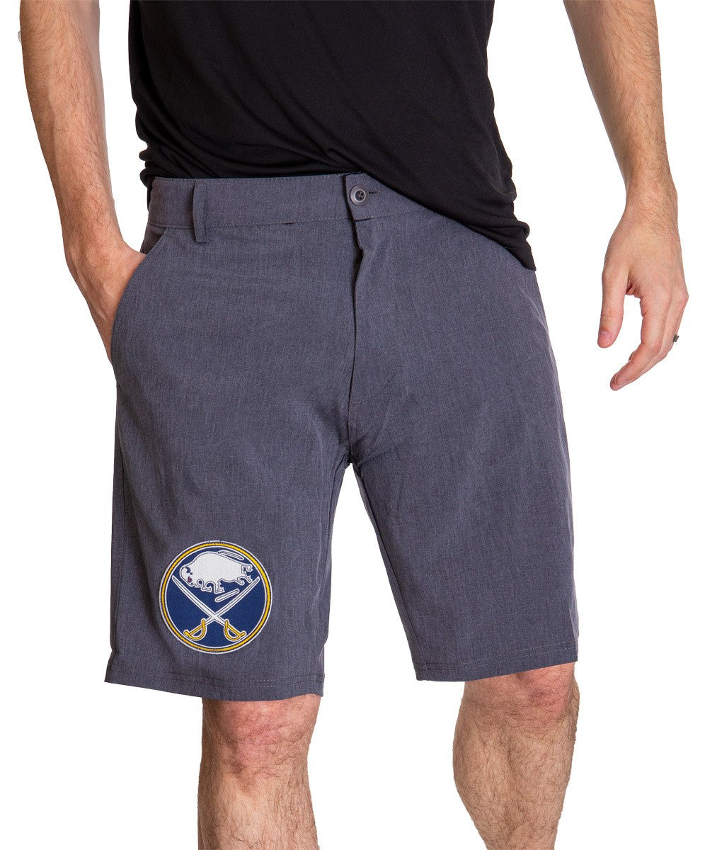 NHL Mens 4-Way Stretch Performance Shorts- Buffalo Sabres Front