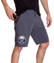 Load image into Gallery viewer, NHL Mens 4-Way Stretch Performance Shorts- Buffalo Sabres Side