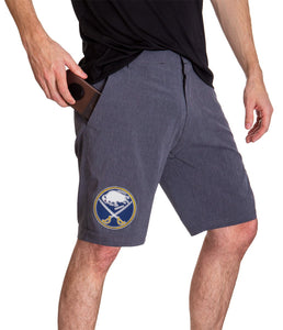 NHL Mens 4-Way Stretch Performance Shorts- Buffalo Sabres Side