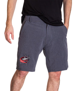 NHL Mens 4-Way Stretch Performance Shorts- Columbus Blue Jackets Front