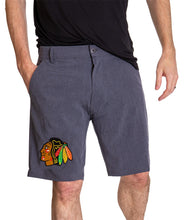 Load image into Gallery viewer, NHL Mens 4-Way Stretch Performance Shorts- Chicago Blackhawks Front
