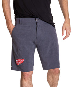 NHL Mens 4-Way Stretch Performance Shorts- Detroit Red Wings Front