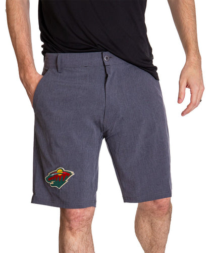 NHL Mens 4-Way Stretch Performance Shorts- Minnesota Wild Front