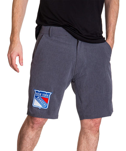 NHL Mens 4-Way Stretch Performance Shorts- New York Rangers Front