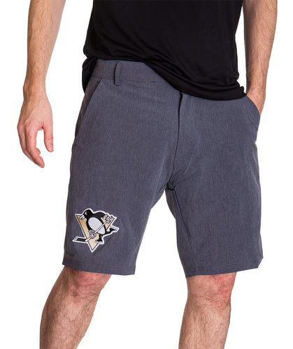 NHL Mens 4 Way Stretch Boardshort- Pittsburgh Penguins Front