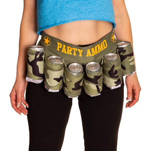 Party Ammo Beer Belt. Camouflaged Design.