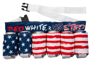 "Novelty Beverage Holder Beer Belt - ""Red, White & Wasted""  Belt By Itself"