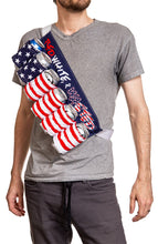 "Load image into Gallery viewer, Novelty Beverage Holder Beer Belt - ""Red, White & Wasted"" Man Wearing Belt Cross Body Style"
