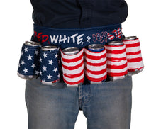 "Load image into Gallery viewer, Novelty Beverage Holder Beer Belt - ""Red, White & Wasted"" Man Wearing Belt Around The Waist"
