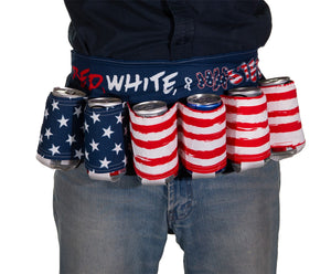 "Novelty Beverage Holder Beer Belt - ""Red, White & Wasted"" Man Wearing Belt Around The Waist"