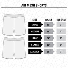 Load image into Gallery viewer, Seattle Kraken Air Mesh Shorts Size Guide.
