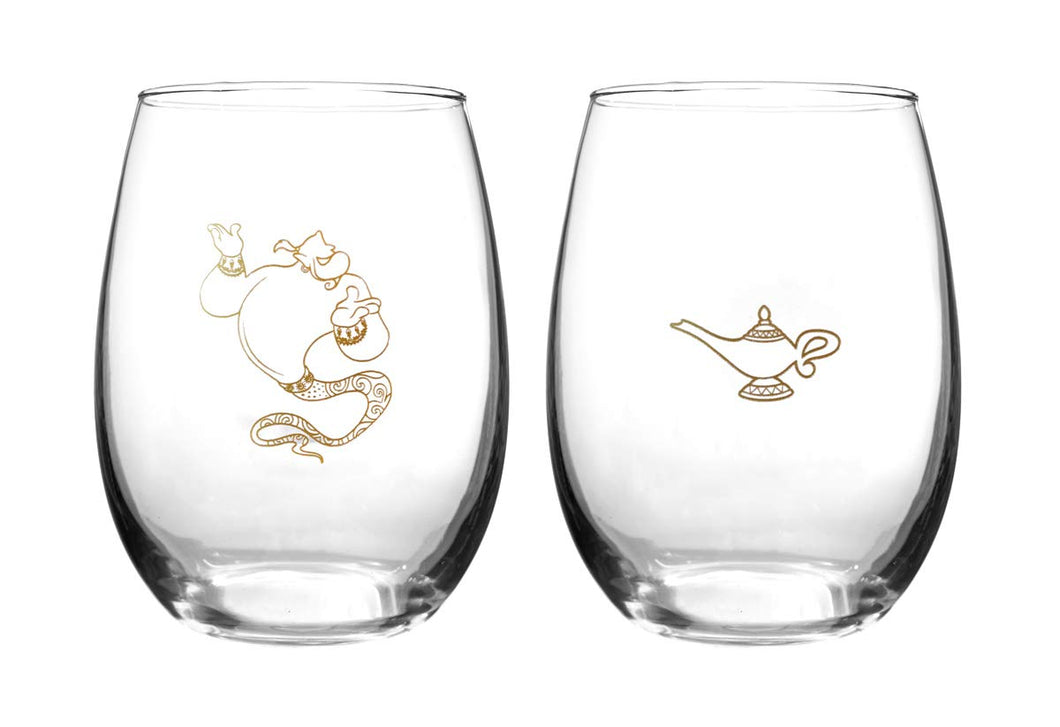 Disney Collectible Wine Glass Set-  Aladdin
