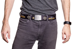 NHL Mens Woven Adjustable Team Logo Belt- Boston Bruins - Man Wearing Belt in Front