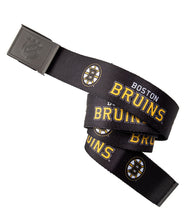Load image into Gallery viewer, NHL Mens Woven Adjustable Team Logo Belt- Boston Bruins Belt Swatch