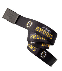 NHL Mens Woven Adjustable Team Logo Belt- Boston Bruins Belt Swatch