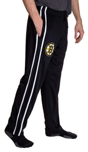 Side View of NHL Men's Striped Training Pant- Boston Bruins Right Leg
