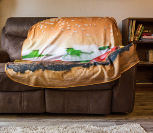 Realistic Hamburger Blanket Draped Over Couch