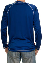 Load image into Gallery viewer, Columbus Blue Jackets Jersey Style Long Sleeve Rashguard, Two-Tone Blue. Back View.