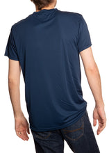 Load image into Gallery viewer, New York Rangers Short Sleeve Shirt Back View in Blue.