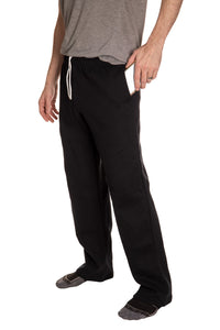 Anaheim Ducks Embroidered Logo Sweatpants Side View, Phone in Pocket.