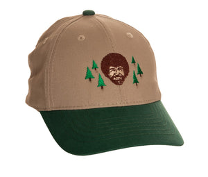 "Bob Ross ""Happy Little Trees"" Two Tone Hat Front View WIth Bob Ross Face, Trees and Green Brim"