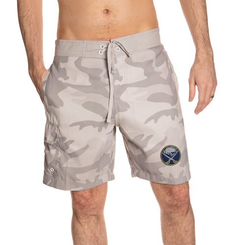 Buffalo Sabres Tan Swim Trunks Front View.