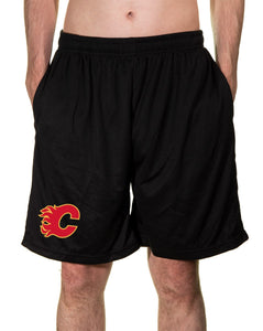 NHL Mens Air Mesh Shorts- Calgary Flames