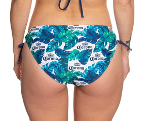 Ladies Corona Bikini - Palm Print String Bikini Bottom Blue, Green, White Palm Print