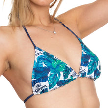 Load image into Gallery viewer, Ladies Corona Bikini - Palm Print String Bikini Top Blue, Green, White Palm Print