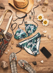 Ladies Corona Bikini - Palm Print String Bikini Top Blue, Green, White Palm Print In Lifestyle Photo with Flip Flops, Beach Bag and Sunglasses