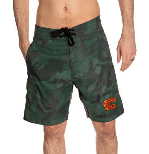 Calgary Flames Green Camo Boardshorts Front View