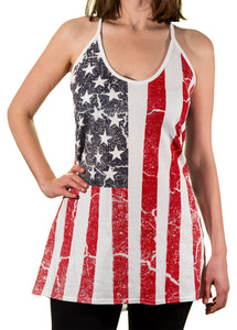 Ladies USA Distressed Flowy Tank - Flag Print
