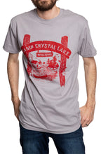 "Load image into Gallery viewer, Novelty Halloween Themed T-Shirt- "" Camp Crystal Lake"" Front"