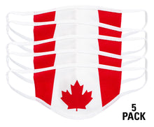 Load image into Gallery viewer, Canada Flag Face Mask. Flag Takes Up The Entire Face Mask . Red and White. 5 Pack.