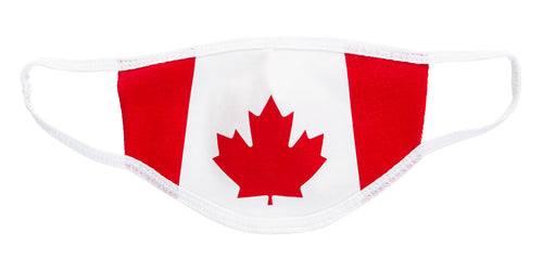 Canada Flag Face Mask. Flag Takes Up The Entire Face Mask . Red and White.