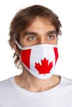 Load image into Gallery viewer, Canada Flag Face Mask. Flag Takes Up The Entire Face Mask . Red and White. Modeled