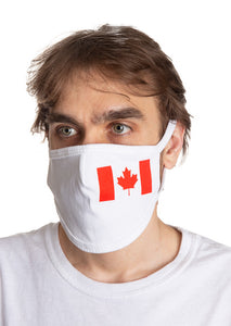 Canada Flag Small Print Face Mask Modeled.