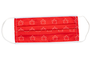 Canada Maple Leaf Print Face Mask. White and Red.
