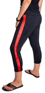 NHL Women's Athletic Capri Workout Leggings- Chicago Blackhawks Side Logo