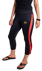 NHL Women's Athletic Capri Workout Leggings- Chicago Blackhawks Front